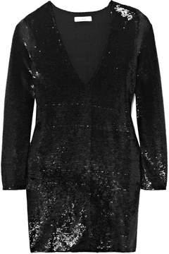 IRO Nobila Sequined Stretch-crepe Mini Dress - Black