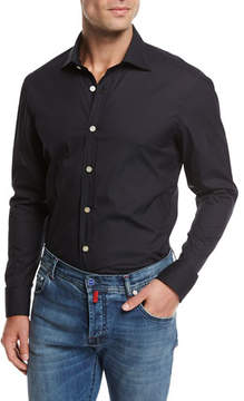 Kiton Solid Cotton Shirt, Navy Blue