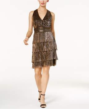 Connected Metallic Crinkle Tiered Halter Dress