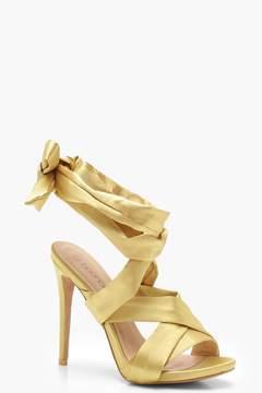 Satin Wrap Strap Sandals