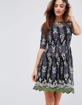 Club L Embroidery Skater Tea Dress