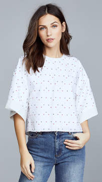 ADAM by Adam Lippes Poplin Cropped Shirt with Embroidery