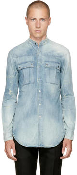 Balmain Blue Denim Destroy Shirt