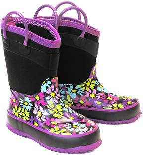 Western Chief Purple & Black Daisy Neoprene Rain Boot - Girls