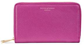 Aspinal of London | Midi Continental Clutch Zip Wallet In Orchid Saffiano | Orchid saffiano