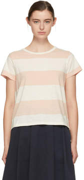 YMC Pink and Ecru Day Wide Stripe T-Shirt