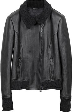 Forzieri Women's Black Leather And Mix Media Jacket