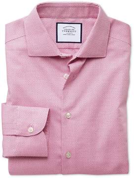 Charles Tyrwhitt Slim Fit Semi-Spread Collar Business Casual Non-Iron Modern Textures Pink Cotton Dress Shirt Single Cuff Size 14.5/33