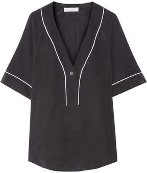 Equipment Atley Washed-silk Top - Black