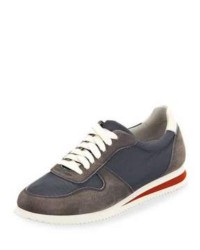 Brunello Cucinelli Men's Suede-Trim Trainer Sneakers, Navy