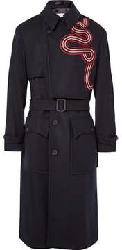 Dries Van Noten Radley Grosgrain-Trimmed Wool-Blend Trench Coat