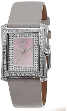Burgi Grey Leather Blue Mother of Pearl Dial Ladies Watch