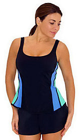 Fit 4 U C's Separates Color-Block U Tank Swim Top