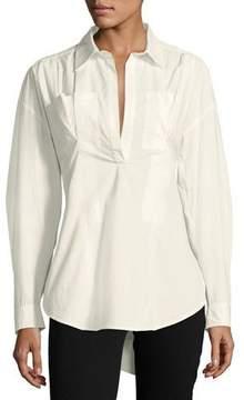 Derek Lam 10 Crosby Long-Sleeve Lace-Up Back Poplin Shirt