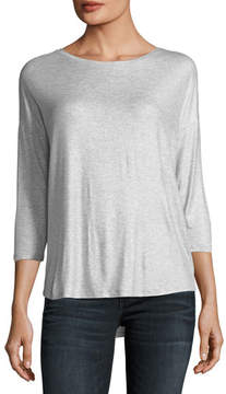 Neiman Marcus Majestic Paris for Soft-Touch Metallic Long-Sleeve Boat-Neck Top