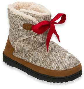 Dearfoams Women's Marled Knit Front-Tie Boot Slippers