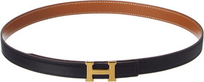 Hermes Black Reversible Leather Constance Belt (Size 70)