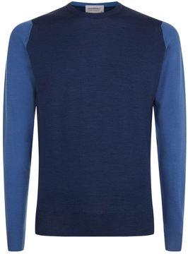 John Smedley Contrast Sleeves Merino Wool Jumper