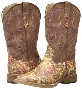 Roper Faux Leather Paisley Glitter Print Cowboy Boots