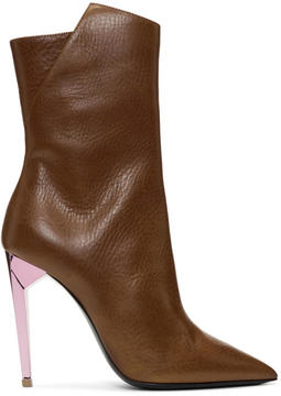 Saint Laurent Brown Metallic Heel Freja Boots