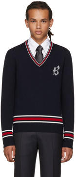 Brioni Navy Logo V-Neck Sweater