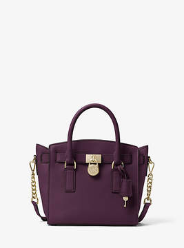 Michael Kors Hamilton Leather Satchel - PURPLE - STYLE