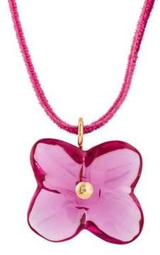 Baccarat 18K Crystal Floral Pendant Velvet Necklace