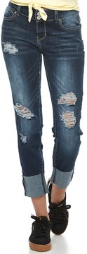 Almost Famous Juniors' Cuffed Ripped Skinny Jeans