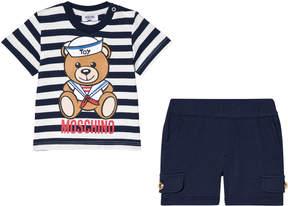 Moschino Navy Sailor Bear Print Branded T-Shirt and Shorts Set