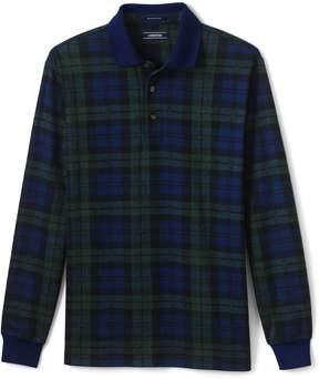 Lands' End Lands'end Men's Supima Long Sleeve Jacquard Polo Shirt