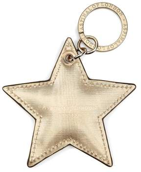 Aspinal of London | Star Keyring In Gold Moire Print | Gold moire print