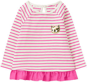 Gymboree Pink & White Cat Stripe Ruffle-Hem A-Line Top - Infant