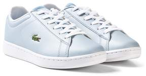 Lacoste Pale Blue Kids Faux Leather Carnaby Trainers