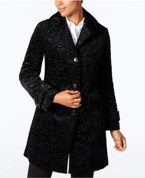 Jones New York Petite Textured Faux-Fur Coat
