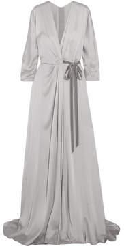 Jenny Packham Velvet-trimmed Satin-crepe Wrap Gown - Silver