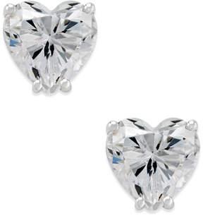 Arabella Swarovski Zirconia Heart Stud Earrings in 14k White Gold