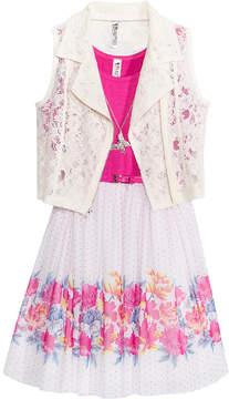 Beautees 2-Pc. Lace Vest & Floral-Print Dress Set, Big Girls