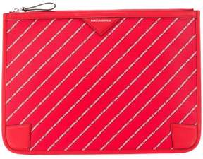 Karl Lagerfeld striped logo pouch