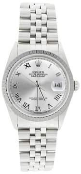 Rolex Datejust 16220 Stainless Steel Silver Roman Dial Engine Turn Bezel Watch