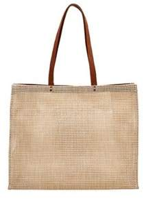 San Diego Hat Company Women's Poly Mesh Tote With Faux Leather Handle Bsb1730.