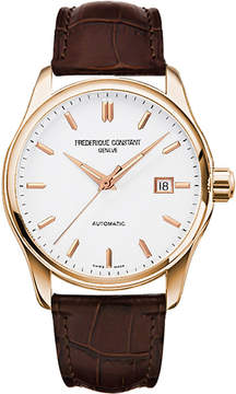 Frederique Constant FC-303V5B4 Index Slim rose gold-plated and leather watch