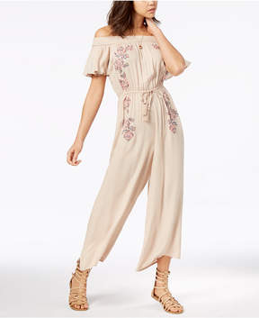 American Rag Juniors' Printed Off-The-Shoulder Wide-Leg Jumpsuit, Created for Macy's