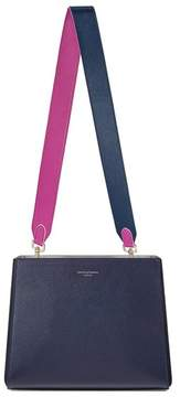 Aspinal of London Small Ella Hobo In Bluemoon Pebble With Orchid Navy Strap