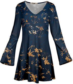 Azalea Blue & Beige Floral Flare-Sleeve Tunic - Plus