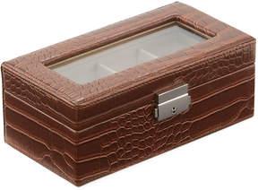 Neiman Marcus Crocodile-Embossed Faux-Leather Watch Box