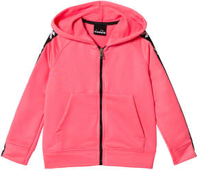 Diadora Fluro Pink And Black Tech Fabric Branded Sleeve Zip Through Hoodie