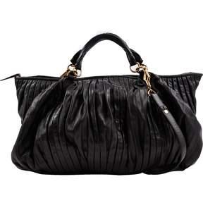 Miu Miu Matelasse Black Leather Handbag