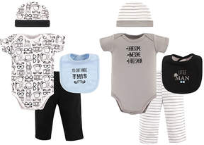Hudson Baby Gray & Blue Mustache Bodysuit - Set of Eight