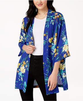 BCX Juniors' Printed Side-Vent Kimono