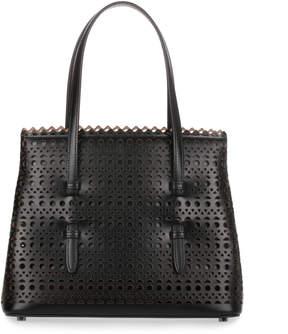 Alaia Black leather laser-cut mini tote